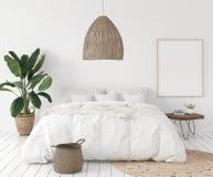 Cadre d'affiche de maquette dans la chambre à coucher, style scandinave