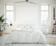 Cadre d'affiche de maquette dans la chambre à coucher, style scandinave illustration de vecteur