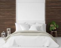 Cadre d'affiche de maquette dans la chambre à coucher, style scandinave photo stock