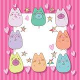 Cadre d'amour d'étoile d'ours de chat Photo stock