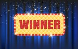 Cadre d'ampoule de gagnant sur le fond bleu de rideau illustration stock