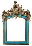 Cadre d'or antique de turquoise d'isolement sur le fond blanc photographie stock