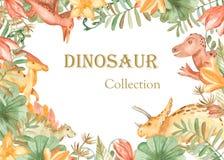 Cadre d'aquarelle avec des dinosaures et des usines préhistoriques illustration stock