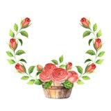 Cadre d'aquarelle avec les fleurs et les feuilles roses Images libres de droits