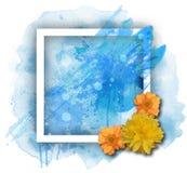 Cadre d'aquarelle de vecteur avec le fond bleu Photo stock