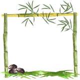 Cadre d'aquarelle des feuilles en bambou et en bambou avec des pierres et de l'herbe sur un fond blanc illustration stock