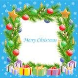 Cadre d'arbre de Noël de salutations de Noël Images stock