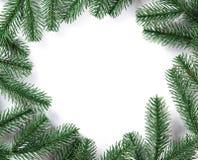 Cadre d'arbre de sapin de Noël sur le fond blanc L'espace libre Images stock