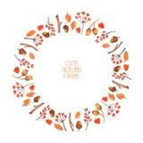 Cadre d'automne d'aquarelle de vecteur Illustration Photographie stock