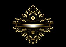 Cadre d'or avec la feuille et les détails courbés autour du ruban argenté avec le cadre d'or illustration libre de droits