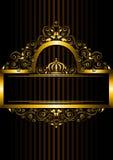 Cadre d'or avec le modèle et la couronne floraux Photos stock