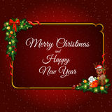 Cadre d'or décoré des éléments de Noël Image libre de droits