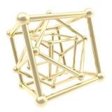 Cadre d'or de carcasse de cube en tant que fond abstrait Image stock