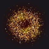 Cadre d'or de cercle sur le fond noir illustration libre de droits