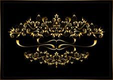 Cadre d'or des ornements et des rubans calligraphiques sur un fond noir Images libres de droits