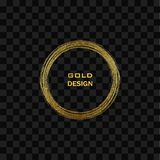 Cadre d'or grunge rond dessus sur le fond transparent Frontière de luxe de vintage de cercle, illustration de vecteur