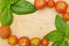 Cadre d'herbe et de tomate Photographie stock