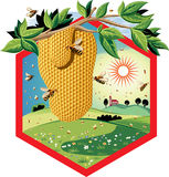 Cadre d'hexagone avec des abeilles de travailleur sur les fleurs, et le nid d'abeilles illustration stock