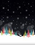 Cadre d'hiver de Noël - illustration Nature de noir de carte de Noël - aucun portrait des textes Photos stock