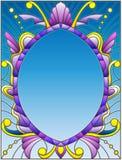Cadre d'illustration en verre souillé avec les modèles et les remous abstraits sur un fond bleu Photos stock