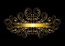 Cadre d'or élégant avec le ruban original avec des boucles et perles Photo stock