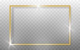 Cadre d'or réaliste sur le fond transparant Vecteur illustration stock