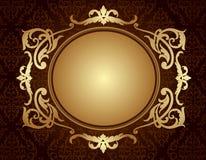 Cadre d'or sur le fond brun de modèle de damassé Photographie stock libre de droits