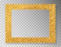 Cadre d'or sur le fond transparent Scintillement d'or décoratif illustration libre de droits