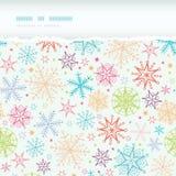 Cadre déchiré horizontal de flocons de neige colorés de griffonnage Images libres de droits