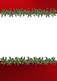 Cadre décoré des lames de houx Photo stock