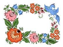 Cadre décoratif avec des fleurs et dans le style traditionnel russe Photographie stock