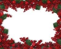 Cadre de baies de houx de Noël Photographie stock libre de droits