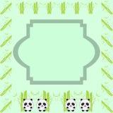 Cadre de bande dessinée - illustration de bambou et de trois petits pandas Photographie stock