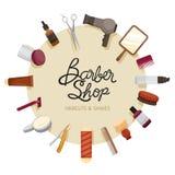 Cadre de Barber Shop Accessories On Circle Images libres de droits