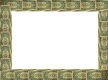 Cadre de billet d'un dollar avec le fond blanc Images stock