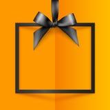 Cadre de boîte-cadeau noir avec l'arc et le ruban soyeux illustration libre de droits