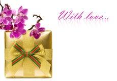 Cadre de cadeau avec l'orchidée Photographie stock