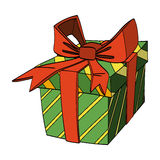 Cadre de cadeau avec la bande et la proue Illustration de vecteur Image stock