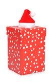 Cadre de cadeau avec le chapeau de Noël Photo stock