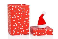 Cadre de cadeau avec le chapeau de Noël Image libre de droits