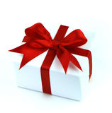 Cadre de cadeau blanc avec la bande rouge Photographie stock libre de droits