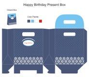 Cadre de cadeau bleu de fond Photo libre de droits