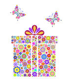 Cadre de cadeau coloré sur le fond blanc Images libres de droits