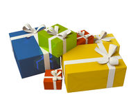 Cadre de cadeau coloré sur le fond blanc Image stock