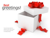 Cadre de cadeau d'ouverture avec la proue rouge Image libre de droits