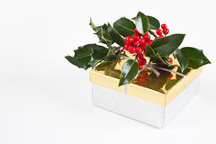 Cadre de cadeau de cadeau de Noël avec le houx et les baies Photographie stock libre de droits