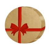Cadre de cadeau de papier de Brown avec la bande photo stock