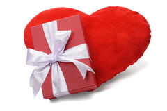 Cadre de cadeau et coeur d'amour Photographie stock libre de droits