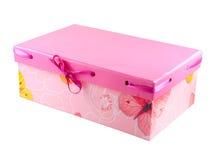 Cadre de cadeau rose avec la bande d'isolement sur le blanc Photos libres de droits