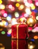 Cadre de cadeau rouge de Noël Photos libres de droits